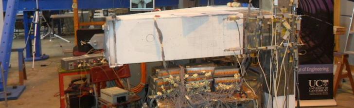 Retrofitted frame tested on Canterbury University shake table